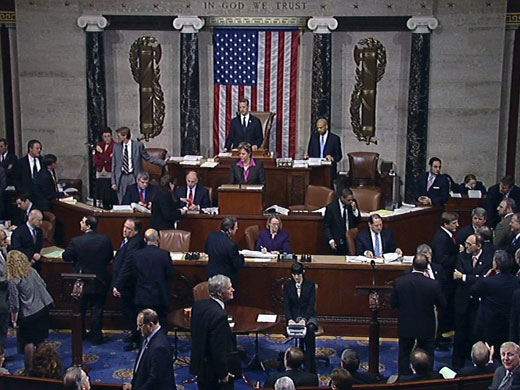 House members on the House floor